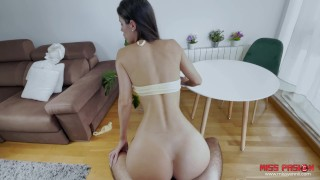 She gets a good fuck in the living room with her innocent face – cum face